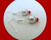 Celestial White Pearl Earrings,  Dangle Earrings, 4 mm Red Swarovski Crystals, Bridesmaid Earrings,  Surgical Steel  Earwires #1084