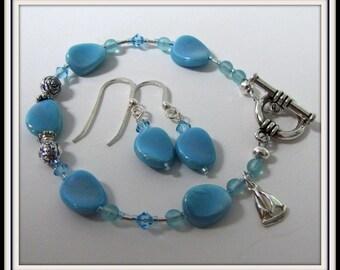 Beaded Bracelet  & Earrings Set,  Robbin Blue,  Sterling Earwires, Dangle Earrings, Charm Bracelet,  Toggle clasp, Hand Jewelry, #1070