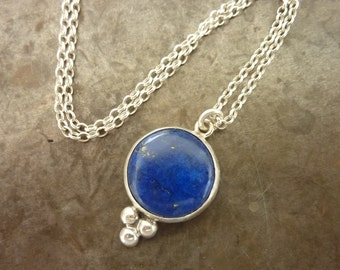 Lapis Necklace, Blue necklace, Statement necklace, Blue and gold Lapis Lazuli  pendant , December Birthstone necklace