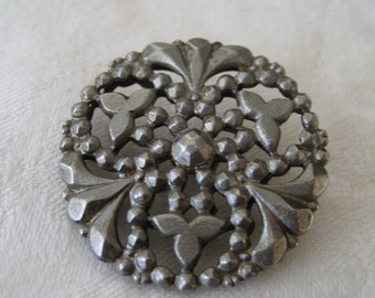 ANTIQUE Pierced Steel Metal BUTTON