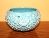 Turquoise Blue Basket Weave Vintage 1950s Ceramic Hanging Planter Flower Pot