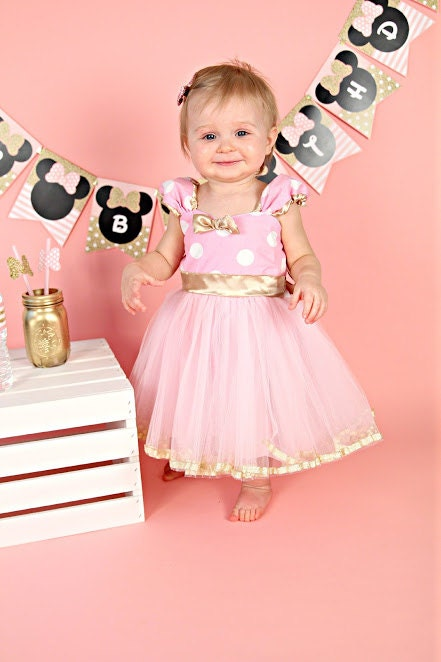 Pink And Gold Birthday Dress Minnie Mouse Dress Minnie Tutu