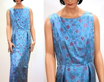 SALE! 60s Blue Dress, Blue Brocade Dress, Blue Sheath Column Dress, Blue Floral Jacquard Dress, Sleeveless Satin Dress M L B40