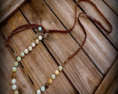 Rustlers, Western Cowgirl Southwestern Boho Hank Knotted Amazonite & Braided Leather Charm Necklace