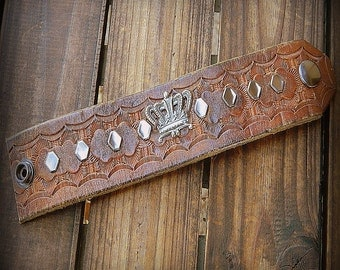 Royalty, Western Cowgirl Southwestern Boho Recycled Tooled Leather Shabby Chic Studded Cuff Bracelet