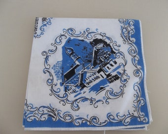 Vintage Decorated Blue Handkercheif