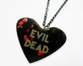 EVIL DEAD Heart Blood splattered splatter Acrylic Necklace Torture Couture monster cult horror Ash Army of Darkness Boomstick