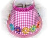 NEW Hot Pink & White Checks With or Without Colorful Applique Daisy's Gingham MINI Clip On Shade