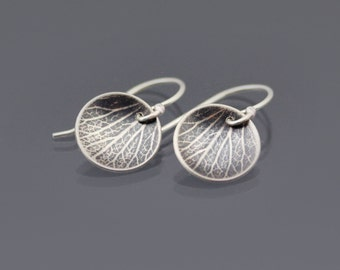 Cupped Hydrangea Petal Earrings - Sterling Silver Nature Jewelry