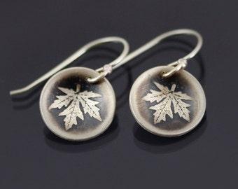 Small Maple Leaf Earrings, sterling silver leaf earrings, botanical earrings, botanical jewelry, dainty earrings, gift for her,  dangles