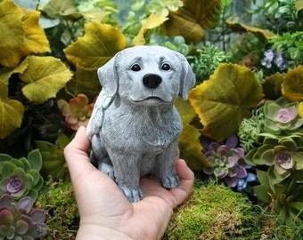 Dog Angel Memorial - Lab / Golden Retriever / Labrador Concrete Statue - Angel Pet Marker