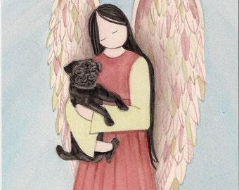 Black pug dog cradled by angel / Lynch signed folk art print