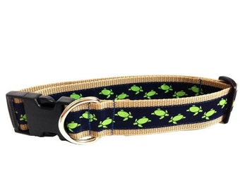 Dog Collar - Navy and Green Extra Large All Breeds - 'Sea Turtles'