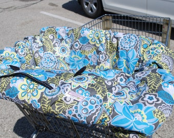 Shopping Cart cover  for boy or girl.....Blue and Gray Floral