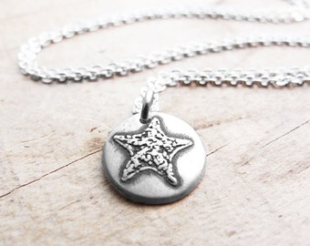 Tiny starfish necklace, silver sea star jewelry, star fish necklace, beach necklace, star fish pendant