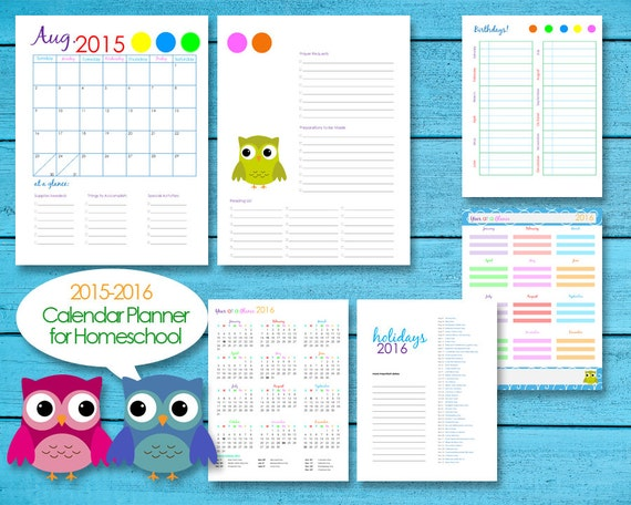 ... Homeschool Teacher Planner Calendar Editable PDF Printables - Owls