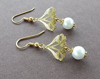 Art Nouveau Gold Earrings White Glass Pearl Beads Holiday Party Bridal Wear Renaissance Style Bride Earrings Golden Pearl Earrings