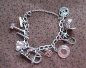 Sterling Silver Charm Bracelet - 12 Charms - Moveable Unique 925 - Mormon - Pencil - Snake - Surfer -