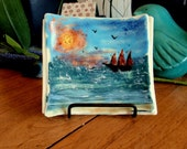 Fused Art Glass Plate - Sea and Ship Scene