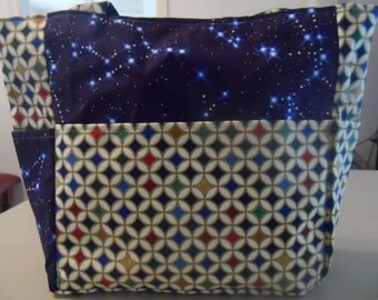 celestial constellation starry night blue bag/purse/ diaper bag