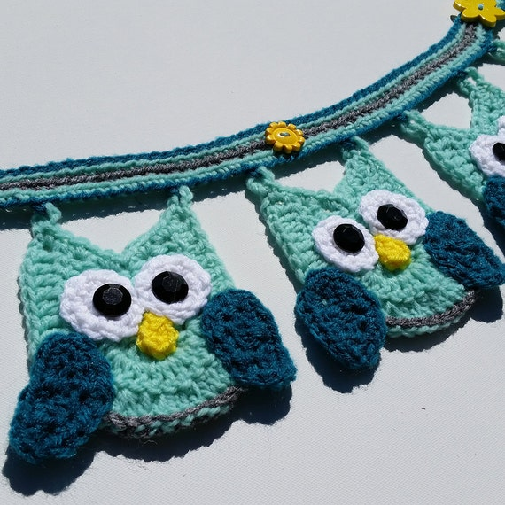 Crochet Pattern For Minion Baby Outfit : Owl Banner / Bunting / Decoration / Crocheted in Shades of