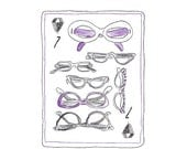Girls Who Wear Glasses Cards print