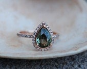 on hold part 2 - Engagement Ring. Green Tea Sapphire pear cut halo engagement ring. 14k rose gold.
