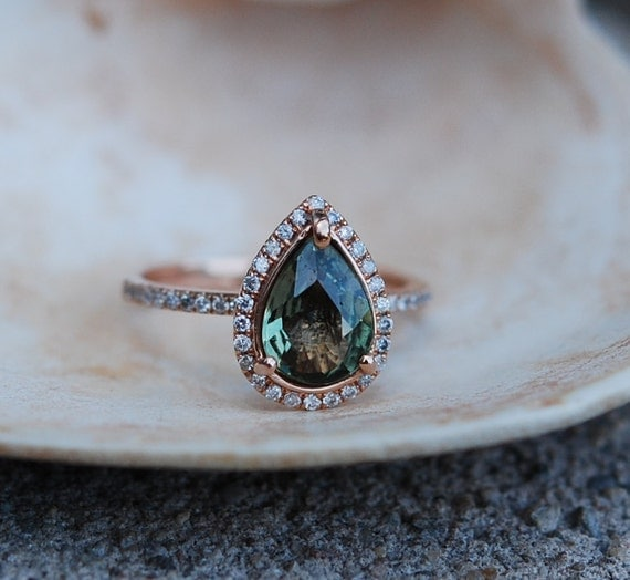 Rose Gold Engagement Ring Green Tea Sapphire pear cut halo engagement ring 14k rose gold.