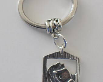 Sterling HORSE at BARN DOOR Key Ring - Key Chain - Whoa Team, Equestrian