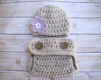 Crochet Baby Beanie, Baby Girl Hat, Baby Photo Prop, Girl Diaper Cover Set, Newborn Hat, Infant Hat, Girl Baby Hat, Girl Infant Hat, Purple