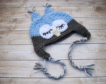 Baby Owl Hat, Newborn Owl Hat, Baby Boy Owl Hat, Baby Animal Hat, Crochet Baby Hat, Photo Prop, Blue, Sleepy Owl, Baby Boy Hat, Baby Gift