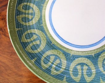 Blue and Green. Vintage 1960s mid century modern dinner plate.