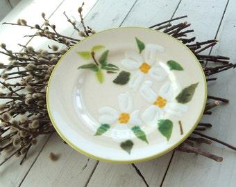 Decorative Ceramic Plate with Magnolia Blossoms