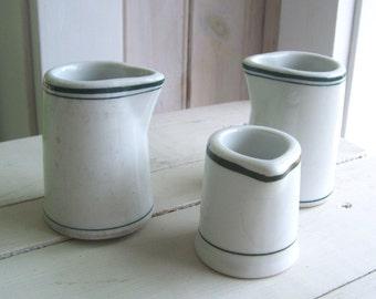 3 Restaurant Ware China Green Stripe Individual Creamers