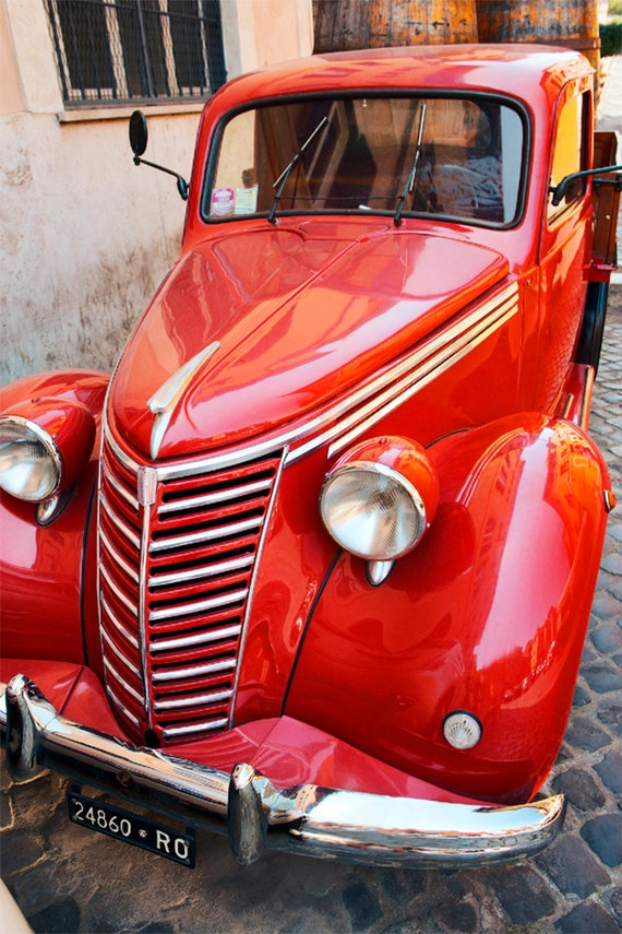 Red 1950 Fiat   Archival Print