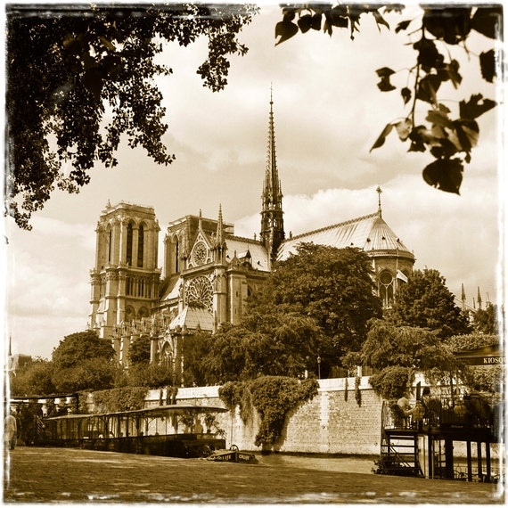 Notre Dame Across the Seine  Archival Print