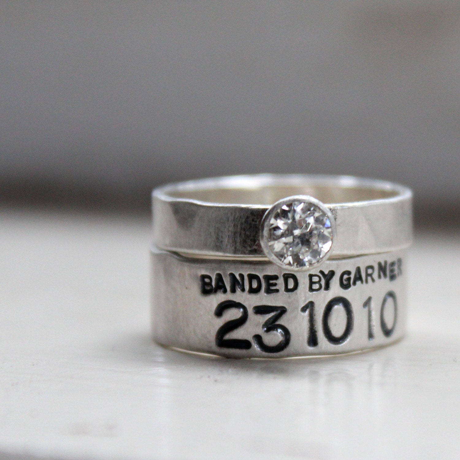 duck band moissanite wedding ring set with by tinahdee