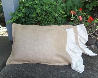 Pair Burlap Pillowcases Burlap Shams Ruffled Burlap Pillow Standard Queen King Decorative Pillows Bedroom Pillows