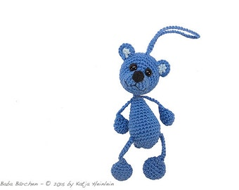 bag pendant Bear, PDF crochet pattern amigurumi tutorial by Katja Heinlein, ebook file teddy