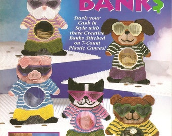 plastic canvas cool cash banks