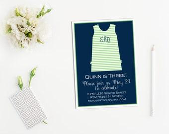 Child's Classic Monogram Shift Dress Printable Birthday Party Invitation