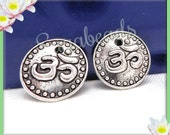 10 Ohm Charms - Silver Yoga Charms - Meditation Charms 15mm PS64