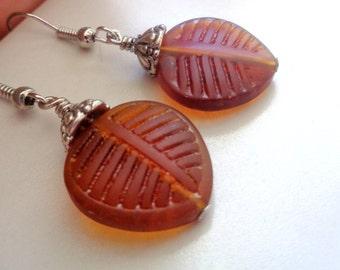 Brown Leaf Earrings, Leaf Earrings, Dangle Earrings,Galss Leaf Earrings
