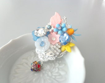 Flower romantic rhinestones jewel brooch