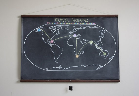 Chalkboard World Map - LARGE SIZE // Travel // Geography // Homeschool // Wanderlust // Vintage Style Map // Globe // Wall Map // Travel