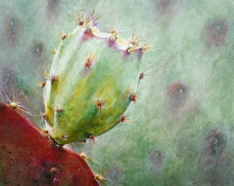 "Original, unique painting, acrylic CACTUS, 12"" x 12"" x 2"" cradled board, ready to hang, OOAK"
