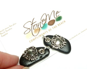 SALE Tribal Jewelry diy Beads Natural Beach Stone Pebbles Long Black Flat Black Stone Earring Sets Silver Heart Charms Filigree FANCY THAT