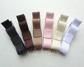 Neutral Colors Tuxedo Bow Clippie Starter Set - No Slip Hair Clip Pack of 6