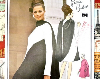 Vintage 1960s Pierre Cardin Dress Pattern with Diagonal Seaming Vogue 1941 -