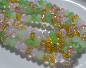 Spring Mix 8x6mm Crystal Bead Strand 36